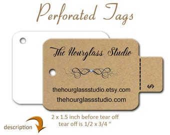 Perforated Price Tags, Custom Tags, Product Tags, Hang Tags,  Jewelry Display Tags, Gift Tags, Purse Tags, Large Tear off Tags , Swing Tags