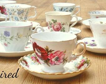 mismatch teacups, mismatched china, mismatched, high tea, tea party, madhatter tea party, tea set, teacups, joblot teacups, vintage crockery
