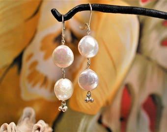Iridescent White Heishi Pearl Dangle Earrings