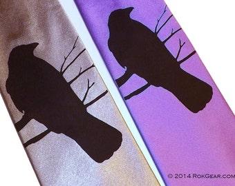 Men necktie - RokGear Crow design hand print silk screen custom colors print to order select your own necktie color