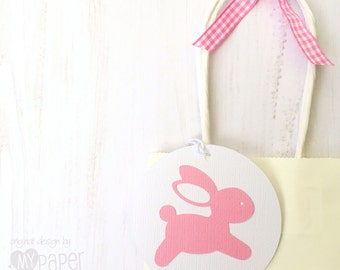 Pink Bunny Gift Tags. Bunny Rabbit Swing Tags. Easter, first birthday party favors, baby shower. Baby girl, new baby favor tags.