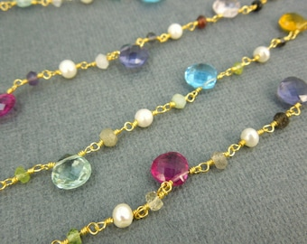 Pearl and Assorted Gemstone Wire Wrapped Beaded Gold Chain - Gold Plated Pearl Rosary Style Chain -PER FOOT (CHN-145)