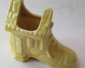 Ceramic Pottery Shoe Yellow Old Lady in Shoe House Boot Planter Vase Vintage 1940s Mother Goose Nursery Decor Mother's Day Gift