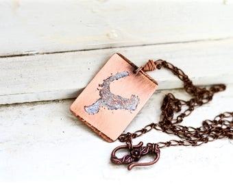 Potato Lake Copper Necklace, Fishing Wife, MN Lake Necklace, Lake Necklace, Custom Lake Map Necklace, Custom Lake Map Gifts, Minnesota Lake