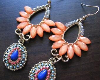 Chandelier earrings gold | colorful | peach | dangle | boho chic