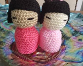 Handmade crochet Kokeshi dolls