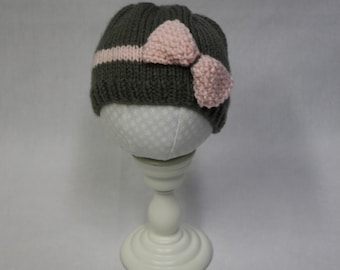Bow/Band Hat knitting PATTERN - cute stocking cap hat with bow or bobble for baby or child - permission to sell finished items