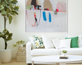 GICLEE PRINT of WHITE abstract painting with blue and beige, Modern painting. *Bells and Whistles no.3**