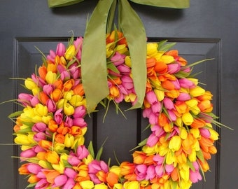 SUMMER WREATH SALE Spring Wreaths- Spring Wreath- Tulip Wreath- Gift for Mom-Wreath for Spring- Custom Sizes