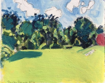 Sonniger Nachmittag, Juli 2017, ORIGINAL Öl-Farben auf festem Papier, Sommer Landschaft Gemälde von Shirley Kanyon, 21x25cm, 8.3x9.8 Zoll