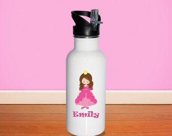 Princess Kids Water Bottle - Princess Dark Pink Dress with Name, Child Personalized Stainless Steel Bottle BPA Free Back to School