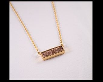 "Necklace ""Sacha"" with goldrose druzy rectangle"