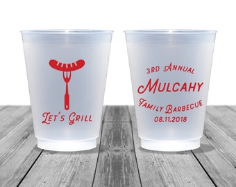 Family Reunion Cups, Birthday Cups, Wedding Cups, Frosted Cups, Personalized Cups, Barbecue Cups, Grilling, Cookout Cups, Let's Grill, 1377