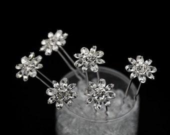 Set of 6 clear Crystal  bridal Hair Pins