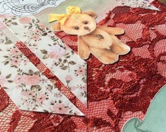 Nursery Art. Mixed media collage. Baby girl nursery artwork.