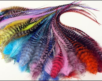 Feather Hair Accessories for Girls Fluffy Colored Hair & Craft Feathers Nice Mix of all Colors Full Feather Extensions DIY Kit with Beads 15