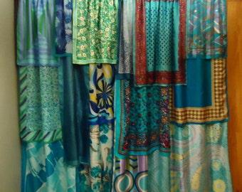 """Shades of Ocean Blue Gypsy Boho Scarf Curtains - 63"""""""