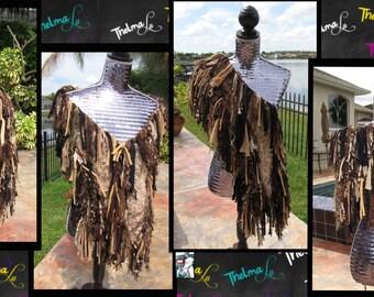 Brown and Beige Ultra Fringe Custom Made Crocheted Scarf