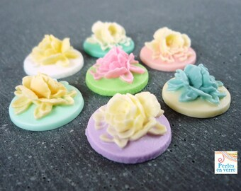 7 flowers pastel resin cabochons, craft, 17mm (cab44)