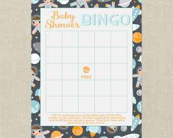Space Baby Shower Bingo--Welcome to Our World, Outer Space: Baby Shower Bingo, Space Baby Shower, Astronaut, Rockets