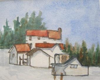 Original Watercolor Painting Barn Snow Fine Art Wall Art Landscape Gift Idea