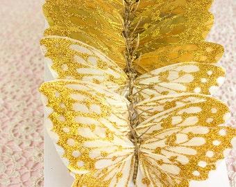 Gold Glitter Feather Artificial Butterflies 12 Wedding Monarch Butterflies 5 inch wingspan size / Bridal Hair / Bridal Bouquet