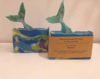Mermaid Soap essential oils tail vegan zerowaste aromatherapy summers soap