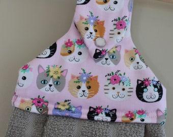 Floral Cats Hanging Kitchen Towel // Kitchen Towel // Dish Towel // Cat Towel