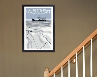 Art Deco Madeline Island Ferry Print