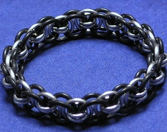 Black and Silver Helm Chain Chainmaille Bracelet- Customized Size
