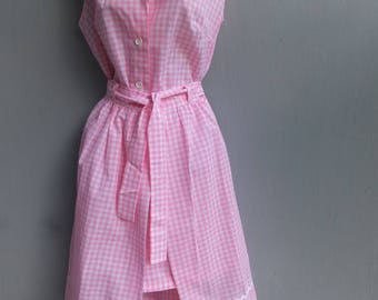 1970s Jumpsuit, 2 pc Jumpsuit or Romper w/Skirt, Summer Fashion, Pink and White Gingham, NOS, Unworn, Size 16