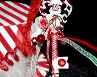 CANDYCANE Peppermint JOY Fairy KEY Embelleshed Magic Tool with Organza Bag and Scroll