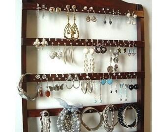 ON SALE Beautiful Dark Mahogany, Jewelry Holder Wall Mount, Earring Organizer, Necklace Storage, Bracelet Display, Solid Oak Hardwood