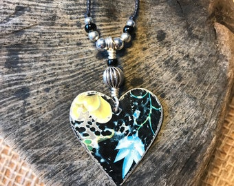 Up Cycled Tin Heart Necklace