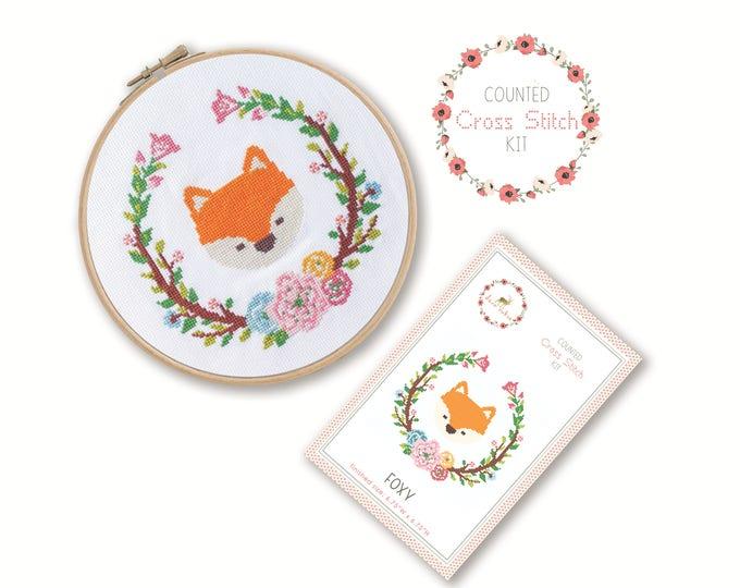 Counted Cross Stitch Kit - Foxy / fox cross stitch pattern, craft kit, embroidery, pattern, gift, fun craft, instruction, nursery, baby gift