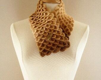 Crocheted Womens Crocodile Stitch Scarf Neckwarmer Shades of Brown and Beige