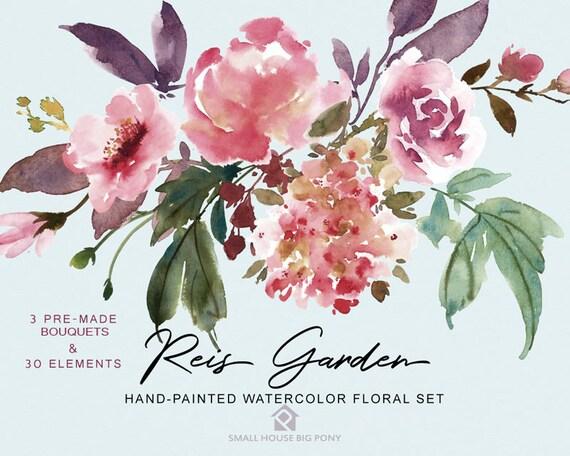 Digital Clipart- Watercolor Flower Clipart, peonies Clip art, Floral Clipart, wedding flowers clip art- Reis Garden Elements & 3 Bouquets