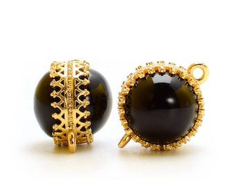 2 Black Onyx Double-Sided Crown Bezel Connector, 12mm, Gold Plated over Brass Bezel. [E0080642]