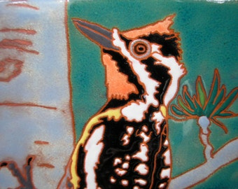 Yellow Bellied Sapsucker -CUSTOM ORDER - 4-6 wks production time- tile in the arts and crafts style perfect for any bird lover