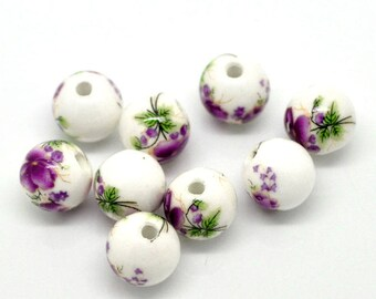 5 floral pattern 12mm ceramic beads