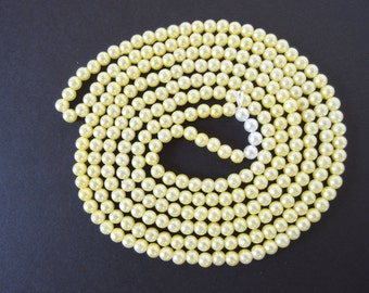 61 Inches Vintage 6mm Loose Strung Pale Yellow Faux Pearls (approx. 280)