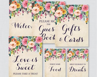 Floral Bridal Shower Table Signs - Printable Shabby Chic Garden Flower Bridal Shower Decorations - Welcome Sign, Favors Sign, etc 0002-A