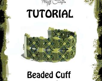 TUTORIAL - beaded cuff bracelet - macrame bracelet pattern - knot guide