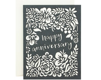 Happy Anniversary Floral Laser Cut Card