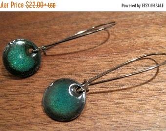 Dangle Earrings, Electric Blue Copper Enamel Jewelry, Nickel Free Kidney Earwires, Sapphire Blue, Marine Blue Earrings
