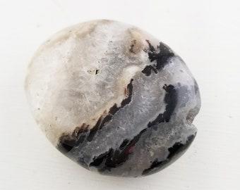 Black Agate Gemstone Palm Meditation Stone