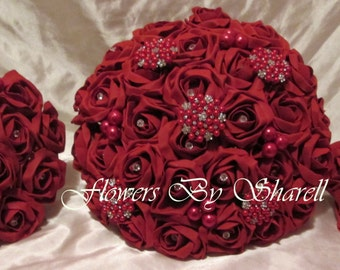 Wedding Flowers Red Roses Wedding Bouquet Brides Bouquet  Bridesmaids Posies Red Roses Brooches