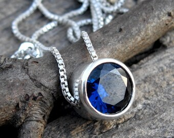 Blue sapphire necklace / sterling silver necklace / September birthstone necklace / gift for her / jewelry sale / gemstone necklace