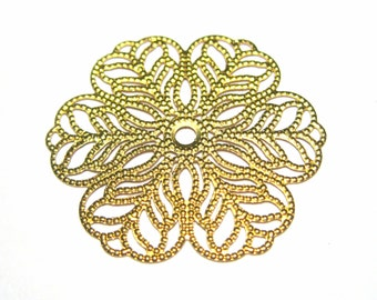 Large Raw Brass Filigree Flower Wraps Circle Round Link Connectors 28mm