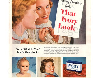 1950 Ivory Soap Vintage Ad, 1950's Beauty, Retro Beauty, 1950's Fashion, Advertising Art, Procter & Gamble, 1950's Baby, Vintage Beauty Ad.